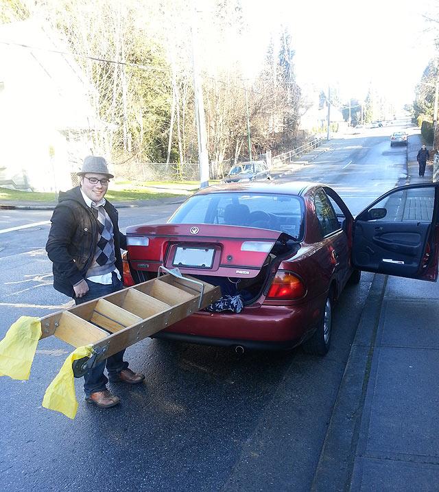 library ladder car